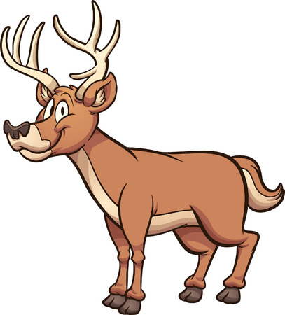 Happy cartoon male deer. Vector clip art illustration with simple gradients. All in a single layer. 向量圖像
