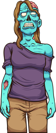 Sad female cartoon zombie front view. Vector clip art illustration with simple gradients. All in a single layer. Ilustracja