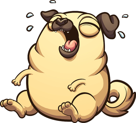 Laughing fat cartoon pug sitting down. Vector clip art illustration with simple gradients. All in a single layer. Иллюстрация
