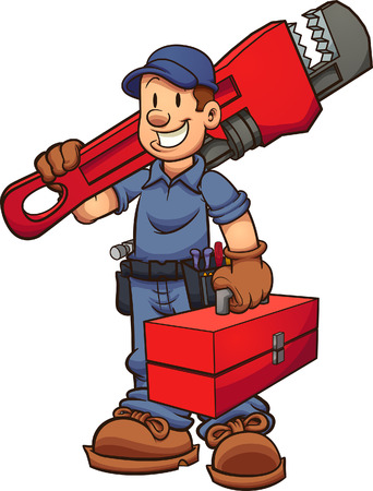 Cartoon plumber with oversized wrench on one hand and a toolbox in the other hand. Vector clip art illustration with simple gradients. Some elements on separate layers. Ilustracja