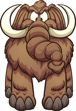 Big angry cartoon mammoth. Vector clip art illustration with simple gradients. All in a single layer.