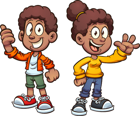 Happy black cartoon kids waving. Vector clip art illustration with simple gradients. Each on a separate layer.