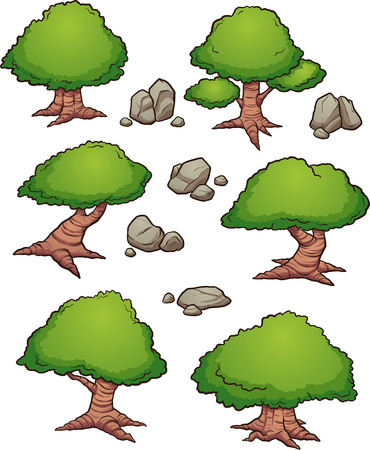 Cartoon rocks and trees aerial view. Vector clip art illustration with simple gradients. Each on a separate layer.   Ilustracja