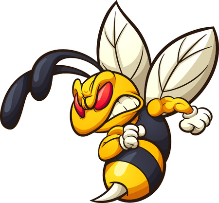 Angry hornet, wasp, or bee mascot clip art. Vector illustration with simple gradients. All in a single layer.