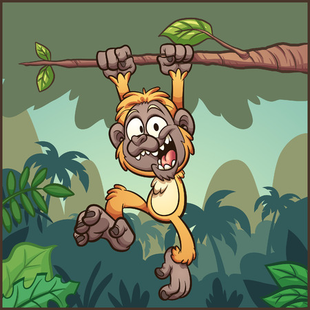 Cartoon gibbon monkey hanging from a branch in front of a jungle background. Vector illustration with simple gradients. Some elements on separate layers.   Ilustracja