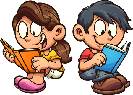 Cartoon boy and girl reading books while sitting down clip art. Vector illustration with simple gradients. Each on a separate layer.  Иллюстрация