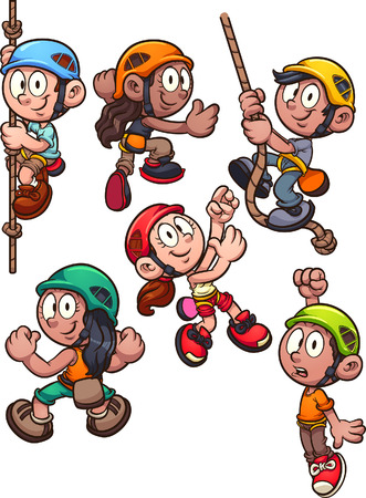 Cartoon rock climbing kids clip art. Vector illustration with simple gradients. Each on a separate layer. 