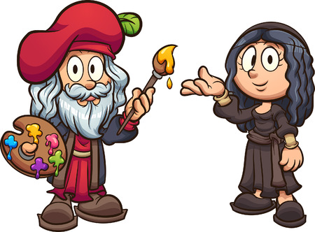 Cartoon boy and girl disguised as Leonardo da Vinci and the Mona Lisa clip art. Vector illustration with simple gradients. Each on a separate layer.   Ilustração