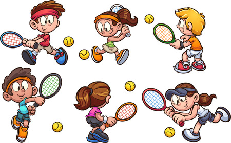 Cartoon kids playing tennis clip art. Vector illustration with simple gradients. Each on a separate layer.