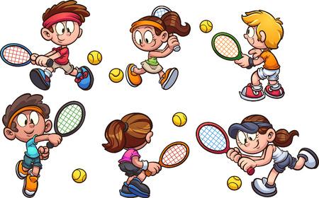 Niños de dibujos animados jugando tenis clip art. Ilustración de vector con gradientes simples. Cada uno en una capa separada. Ilustración de vector