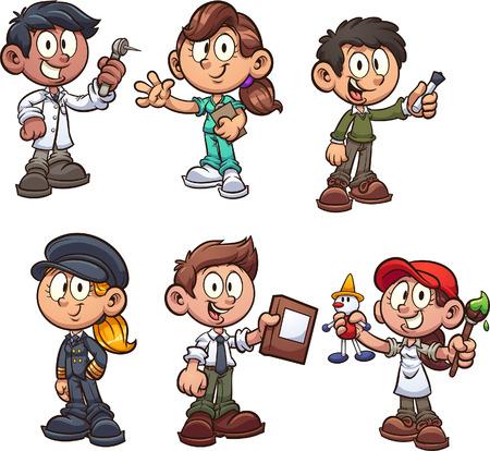 Niños de dibujos animados con imágenes prediseñadas de diferentes ocupaciones. Ilustración de vector con gradientes simples. Cada uno en una capa separada. Ilustración de vector