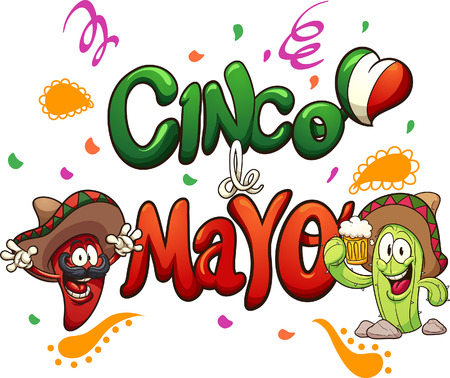 Cartoon cinco de Mayo text clip art. Vector illustration with simple gradients. Some elements on separate layers.