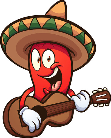 Cartoon Mexican red chili pepper with guitar clip art. Vector illustration with simple gradients. All in a single layer.