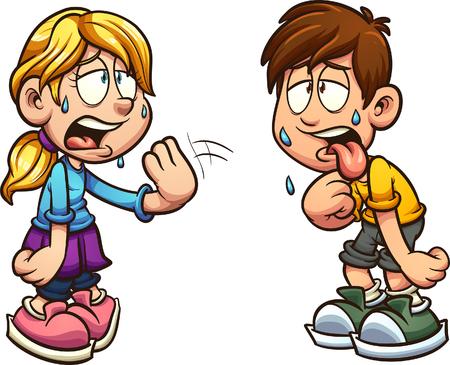 Kreskówka chłopiec i dziewczynka cierpienia postaci ciepła clipart. Ilustracja wektorowa z prostymi gradientami. Każdy na osobnej warstwie.
