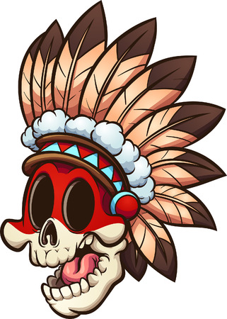Cartoon Native American skull  with feather headgear clip art. Vector illustration with simple gradients. All in a single layer.   Ilustracja