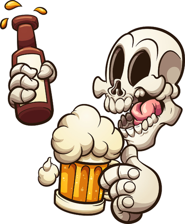 Cartoon skull celebrating with beer clip art. Vector illustration with simple gradients. Some elements on separate layers.   Ilustracja