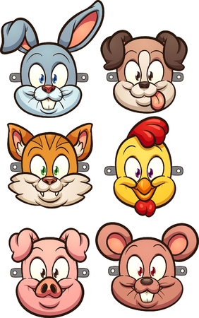 Cartoon animal faces for kids masks clip art. Vector illustration with simple gradients. Each on a separate layer.