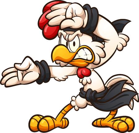 Pollo del fumetto che colpisce una clip art di posa di karate. Illustrazione vettoriale con gradienti semplici. Tutto in un unico strato. Vettoriali
