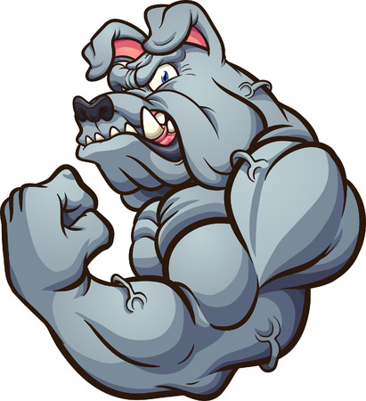 Strong cartoon bulldog mascot clip art.