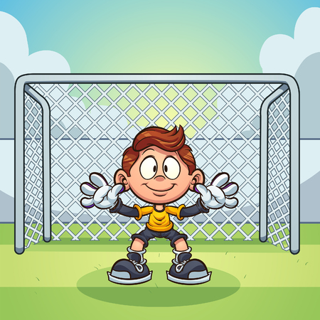 Goal keeper kid with soccer goal  background clip art.