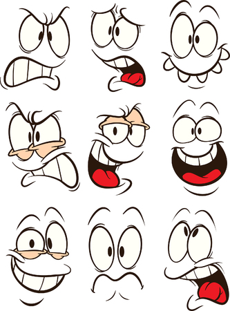 Funny cartoon faces with different expressions clip art. Vector illustration. Some elements on separate layers.