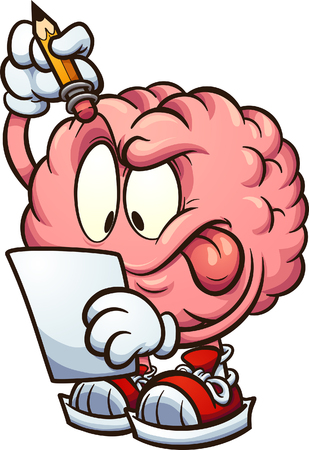 Cartoon brain looking at a piece of paper and thinking clip art. Vector illustration with simple gradients. All in a single layer.