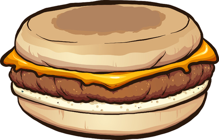 Sausage egg and cheese muffin clip art. Vector illustration with simple gradients. All in a single layer.
