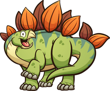 Happy cartoon stegosaurus dinosaur with leg up clip art. Vector illustration with simple gradients. All in a single layer. Ilustracja