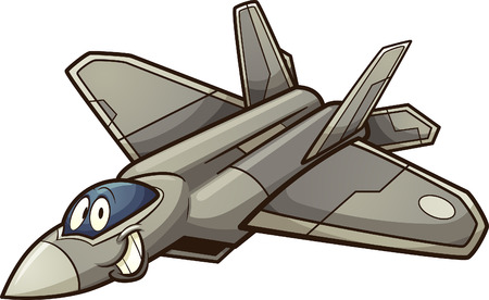Happy cartoon fighter jet clip art. Vector illustration with simple gradients. All in a single layer. Ilustração