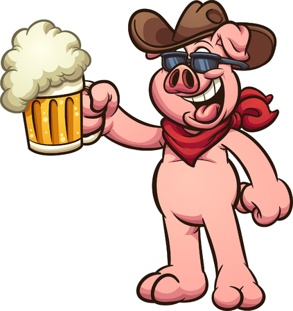 Cow boy pig with beer mug on his hand clip art. Vector illustration with simple gradients. All in a single layer. Ilustracja