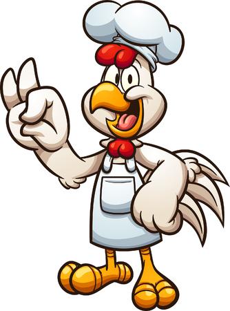 Cartoon Chicken Chef macht die OK-Handgeste-ClipArt.