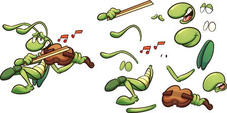 Singende Cartoon-Heuschrecke, die eine Geige-ClipArt-Grafik spielt. Vektorillustration mit einfachen Steigungen. Einige Elemente auf separaten Ebenen.