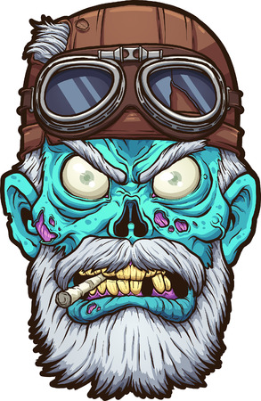 Old cartoon zombie biker head with leather helmet clip art. 矢量图像