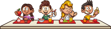 Cartoon kids eating breakfast at school clip art. Ilustracja