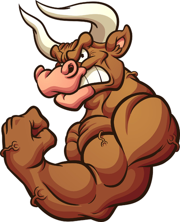 Strong brown bull mascot flexing arm clip art. Vector illustration with simple gradients. All in a single layer. Illustration