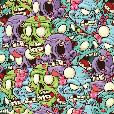 Cartoon zombie heads seamless pattern. Vector illustration with simple gradients. All in a single layer.