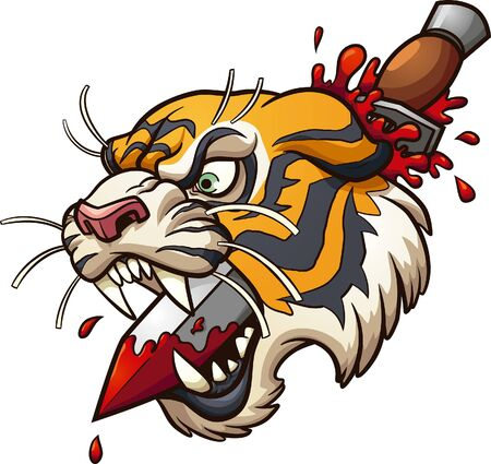 Cartoon tiger head stabbed by a dagger classic retro tattoo clipart. Vector illustration with simple gradients. All in a single layer.