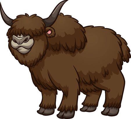 Furry, brun, laineux dessin animé mâle yak clipart debout. Illustration vectorielle avec des dégradés simples. Le tout en une seule couche.