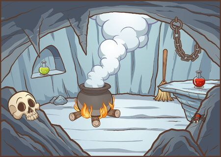 Cartoon witch cave background with cauldron and potions. Vector illustration with simple gradients. Some elements on separate layers.   일러스트