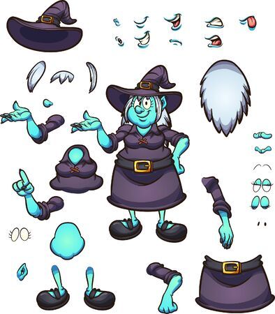 Cartoon Halloween witch character with different  face expressions and poses, ready for animation. Vector illustration with simple gradients. Some elements on separate layers. 일러스트