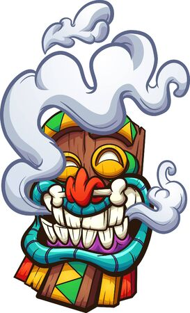 Cartoon happy smoking Tiki mask  clip art. Vector illustration with simple gradients. All in a single layer.