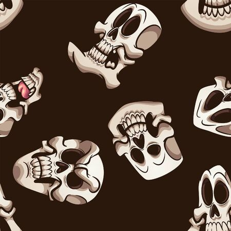 Halloween cartoon skulls with different shapes and expressions seamless pattern. Vector illustration with simple gradients. All in a single layer.