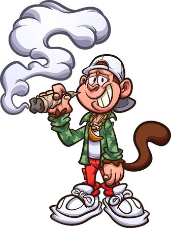 Cool cartoon monkey with swag, smoking a marijuana joint clip art.