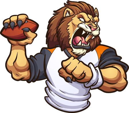 Starkes Löwenmaskottchen, das eine Fußballclipart brüllt und wirft. Vektorgrafik
