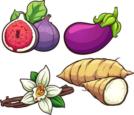 Cartoon common food ingredients clip art. Vector illustration with simple gradients. Some elements on separate layers.