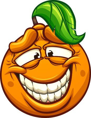 Cartoon orange making a silly face clip art. Vector illustration with simple gradients. All in a single layer.