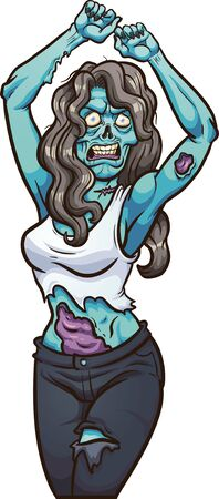 Female dancing zombie looking angry clip art. Vector illustration with simple gradients. All in a single layer.