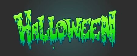 Cartoon green slime Halloween text with dark background clip art. Vector illustration with simple gradients. Some elements on separate layers.