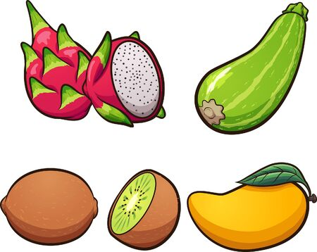 Cartoon dragon fruit, kiwi, zucchini, and mango clip art. Vector illustration with simple gradients. Each on a separate layer.