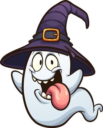 Cartoon Halloween ghost with tongue out, wearing a witch hat clip art. Vector illustration with simple gradients. Some elements on separate layers.